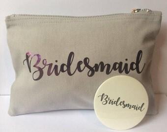 Bridesmaid - Bridesmaid gift - Bridesmaid Pocket Mirror & Bridesmaid Makeup Bag. Bridesmaid thank you favour