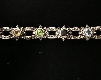 Sterling Silver Marcasite & Birthstone Bracelet