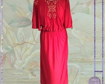 80's Shoulderless Red Nightgown