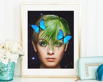 Twiggy Print - Butterfy Art  - Twiggy Green - Palm Poster - Botanical Art