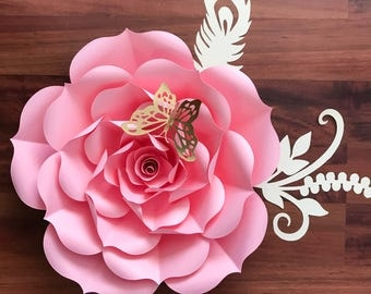 "SVG Petal #93 Rose Paper Flower Template- DIY Cricut and Silhouette machines ready-Center Bud included (19-21"")"