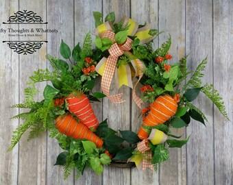 Carrot Garden Wreath, Easter Carrot Wreath, Front Door Wreath, Carrot Wreath, Easter Carrot, Carrot Decor, Garden Wreath