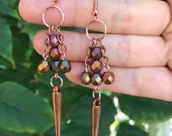 Metallic Copper Earrings || Spike Earrings || Fall Earrings || Autumn Earrings || Beaded Earrings