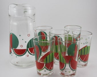 Vintage Water Pitcher Set with Watermelon Motif