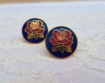 Red Rose and Blue Vintage Petite Round Cloisonne Stud Earrings- 1980s