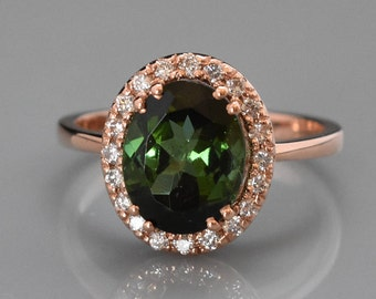 14K Rose Gold Green Tourmaline & Diamond Ring | Engagement Ring | Anniversary Ring | Diamond Halo | Statement Ring | Handmade Fine Jewelry