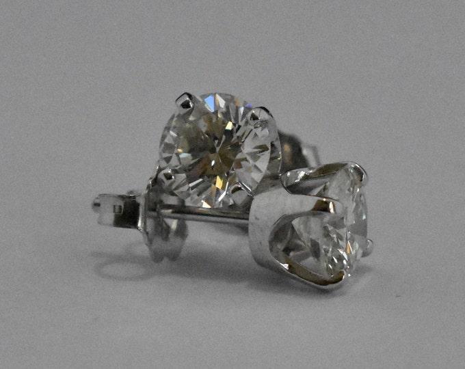14K White Gold Earrings   Diamond Stud Earrings   Simple   Handmade Fine Jewelry