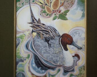 """2 frames cash Woven pictures Limited Edition of 3000 - model birds """"pintail duck"""" woven pure silk. Numbered 1049/3000"""