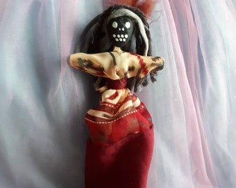 Voodoo Doll Attraction Doll Blessed Authentic Handmade New Orleans Art Doll Skull Face OOAK