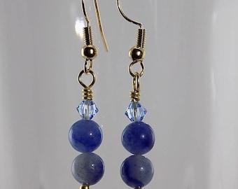 Blue Aventurine, Swarovski crystals, blue, light blue, gold wire, petite dangles,