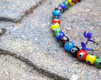 Bullseye Multi Color Glass Bead Necklace