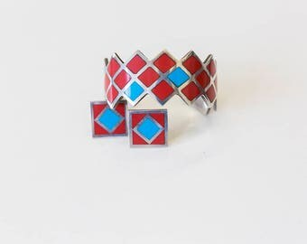 Vintage 80s Inlaid Turquoise and Red Geometric Earrings and Bracelet Set