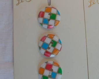 Vintage Le Chic Multi Colored Checkered Buttons 5/8""