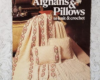 Afghans & Pillows to Knit and Crochet, Leisure Arts Leaflet 149, Vintage 1979, Crochet Patterns, Knit Patterns