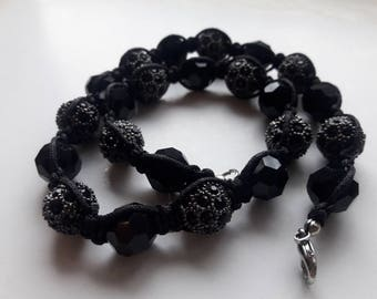 Black  Beaded Glass Necklace, Black Glass Choker