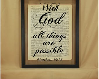 With God All Things, With God All Things Are Possible, With God All Things Are Possible Sign, Matthew 19, Matthew 19 26, Bible Verse Sign