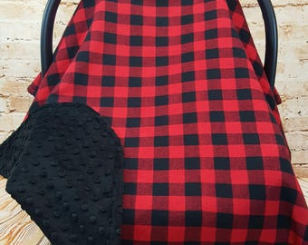 Infant Car Seat Cover Blanket Canopy Red Buffalo Plaid