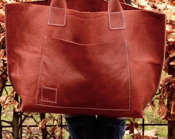 leather tote - leather bag women - leather tote bag - brown leather tote - handmade leather bags - eco leather bag - leather shoulder bag