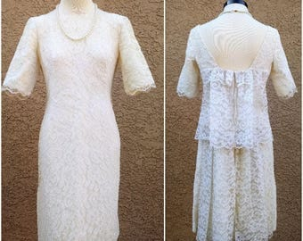 Ivory Elegant 1950s 1960s Emma Domb Wedding Tiered Dress Scalloped Lace Cocktail  50s 60s Party Dress Romantic Feminine Free US Shipping