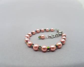 Pink Pearl and Iridescent Swarovski Crystal Baby Bracelet