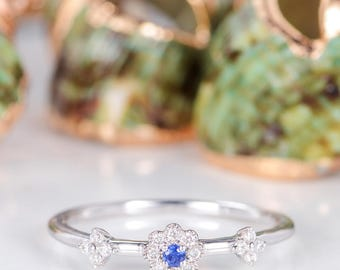 Sapphire Engagement Ring Diamond Cluster Ring White Gold Flower Floral Dainty Antique Unique Birthstone Gift Anniversary Promise Women
