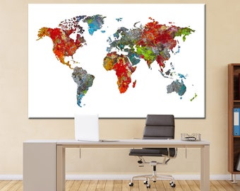 World map silhouette in Watercolor Canvas Panels Set, Abstract World Map Print, Multi-Panels on Canvas Wall Art for Home & Office Decor