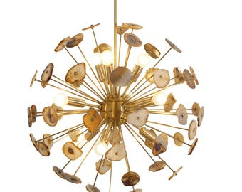 Modern Brass Sputnik Chandelier Light Fixture With Agate Stone - 9 Bulbs Agate Stone Chandelier