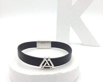 Mens black leather and silver bracelet