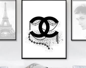 Coco Chanel Print, Coco Chanel Art, Chanel Logo, Chanel Inspired Print, Fashion Print, Fashion Logo Poster, Fashion Sign, Instant Download