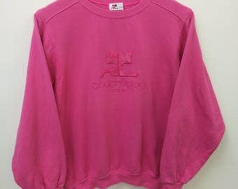 Vintage COURREGES//Sweatshirt Big Logo Embroidered Spellout//Size 160 womens//