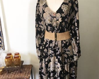 Vintge Dark Floral Oversized Loose Fitting Long Sleeved Drapey Dress