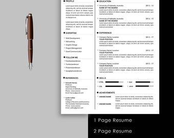 resume template professional resume teacher resume 1 page resume modern resume