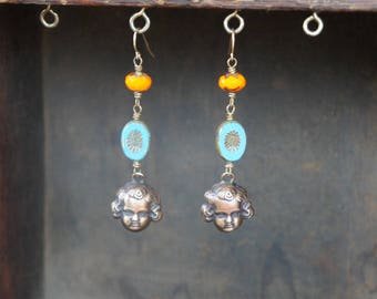 Cherub Face Baby Face with Vibrant Blue and Orange Glass Beads Earrings French Brass Antique Vintage Style