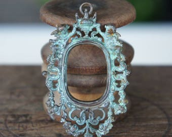 Verdigris Patina Vintage French Brass Stamping/Antique Style/Cherubs/Pendant/Frame/Baroque/Plaque/French Findings