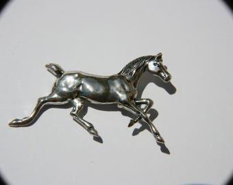 Trotting Horse Vintage signed sterling horse brooch