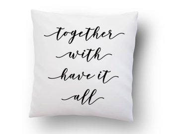 Throw pillow, cushion cover, white pillow, bedroom pillow, wedding gift, gift for her, unique gift, couple gift, engagement gift, pillowcase