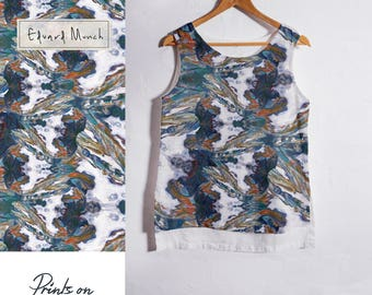 Linen tank top - Edvard Munch - Two sides linen blouse  - 100% linen - basic linen top - blouse - washed linen blouse - linen shirt