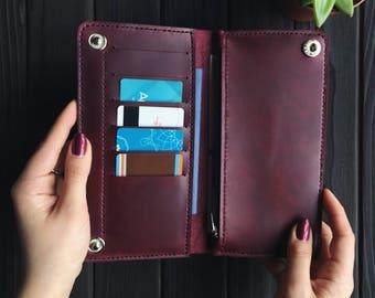 Purple Travel Wallet, Purple Wallet, Leather Wallet, Purple Wallet Clutch, Womens Clutch, Wallet, Leather Purse, Passport Wallet