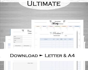 Business planner organizer: finances, sales tracker, inventory, product plan, productivity, order form, 29 printables Letter and A4 download
