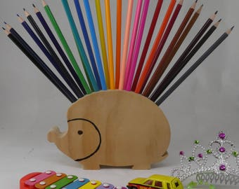 Pencil Holder, Hedgehog, Back to School supplies, toddler gift, Montessori, natural toy, wooden toy, eco friendly, stocking stuffer, rainbow
