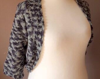 Crochet, crocheted bolero, shades of grey gradient tones gray Bolero