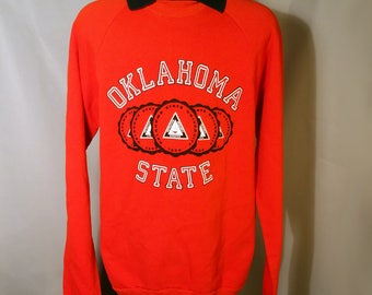 1970s Oklahoma State University Cowboys Pokes Orange Sweatshirt Black Collar Sz Medium OSU Stillwater OK Okie Pistol Pete 70s Retro Game Day
