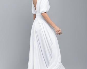 Open Back Wedding Dress / boho wedding dress / Vintage Wedding Dresses / 3/4 Sleeve Wedding Dress / Bridal Dresses / Greece Wedding Dress