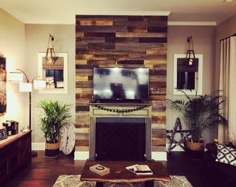 Ready To Install-Grey, Brown Reclaimed Wood Wall, Barnwood Planks, Barnwall Siding, Reclaimed Grey-Brown, Reclaimed Brown, Accent Wall