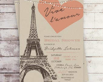 Parisian Bridal Shower Invitation, Paris Bridal Shower Invitation, Vintage Paris, Eiffel Tower, Paris Invitation, French Theme, Printable