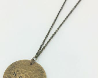 Handmade Hope Hammered Brass Necklace