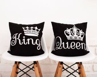 King & Queen Pillow Covers Bedding Pillowcase Crown Pillow Cover Personalized Wedding Gift King and Queen Pillow King and Queen Crowns #33
