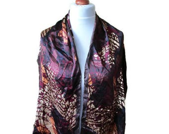 Gorgeous Golden Brown Beige Burgundy Red Pure Silk Scarf, Long Silk Scarf, Abstract Print Pattern, Womens Accessory, Gift For Her