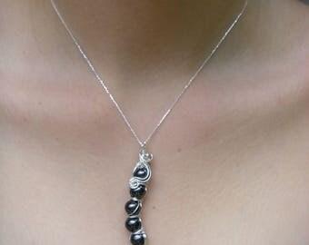 5 peas in a pod hematite silver filigree wire wrap necklace