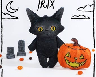 Halloween Trix - black cat doll with pumpkin jackolantern made from soft minky fabric